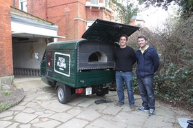 Wood fired pizza van. Piaggio APE
